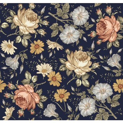 Vintage floral Version 2 – THIN Navy Organic French Terry