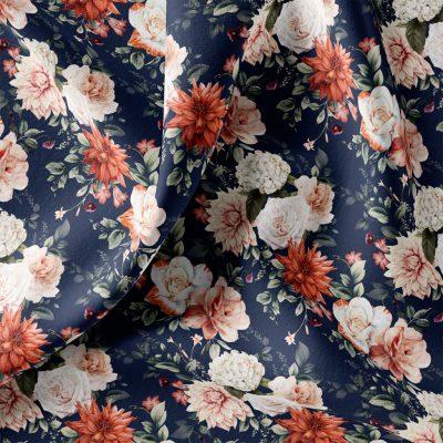 Terracotta Floral French Terry Navy