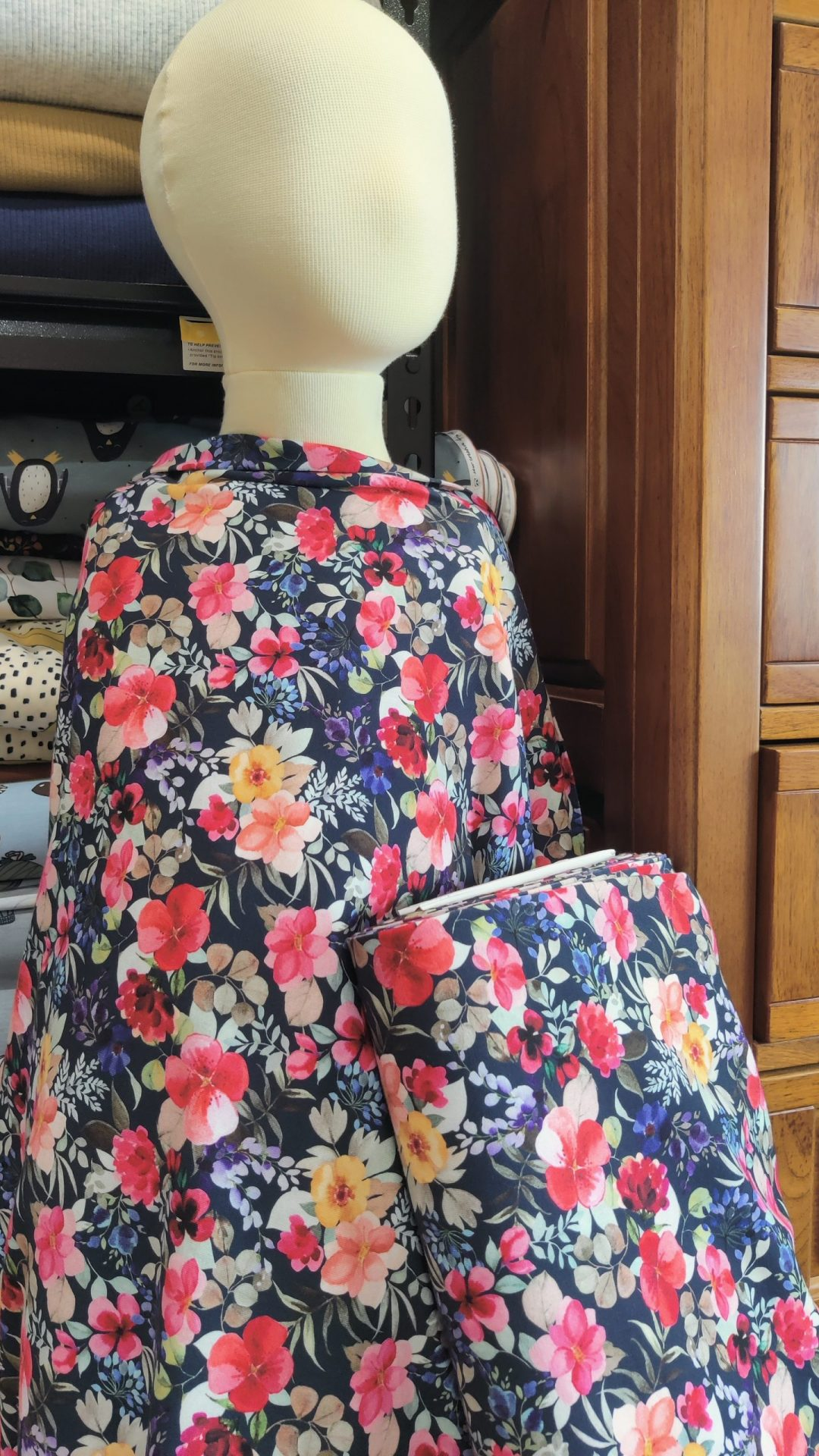 Watercolour Blooming Florals Navy Jersey Organic